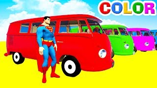 LEARN COLORS Bus McQueen & Spiderman for Kids - 3D Cars Superheroes for Children