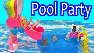 Rainbow Slide Pool Party Barbie Chelsea Water Play Playset Toy Video with Puppy + Littlest Pet Shop