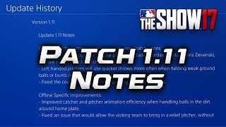 Patch 1.11 Notes MLB The Show 17 + Dev Stream Notes [July POTM Twitch Stream Vote]