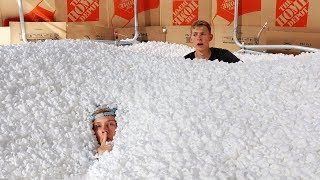 1,000,000 Packing Peanuts Secret Hidden FORT Hide and Seek!!
