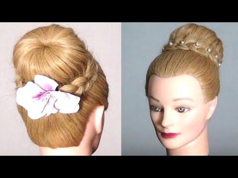 Прическа шишка с косой