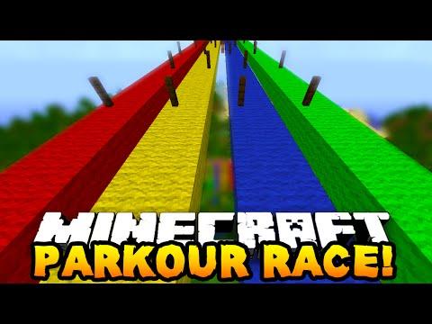 Minecraft 1v1v1 RAINBOW PARKOUR RACE w PrestonPlayz Vikkstar123 & MrWoofless