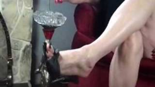 Feet with Smoking and long red nails with Mistress