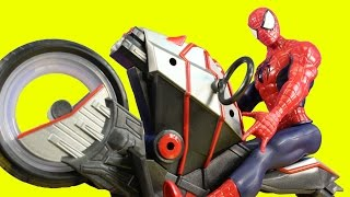 Spider-man Spider Cycle Vs Marvel Electro Sandman And Flying Batman Toy