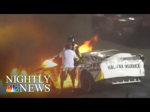 Xxx Mp4 Father Pulls Son From Burning Car After Dramatic Racetrack Crash NBC Nightly News 3gp Sex