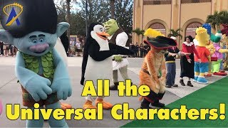 All the Universal Orlando characters dancing at Florida Cup Fan Fest