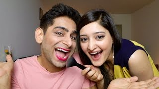 WIFE DOES HUSBANDS MAKEUP | INDIAN COUPLE