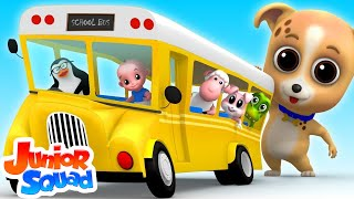 Wheels On The Bus Go Round And Round | Bus Song | Nursery Rhymes | Children Song By junior Squad