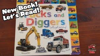 Trucks and Diggers Book!  Let's Read! Garbage Trucks, Firetrucks, Construction Trucks