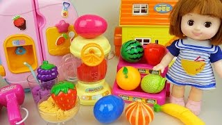 Baby doll and fruit mixer Surprise eggs in refrigerator toys play