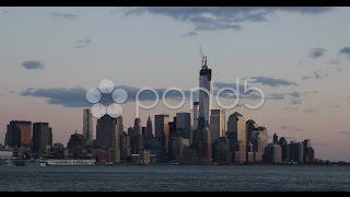 Ultra HD 4K New York City Manhattan Downtown Skyline One World Trade Center Dusk. Stock Footage