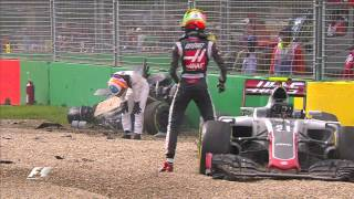 Alonso And Gutierrez Crash | Australian Grand Prix 2016