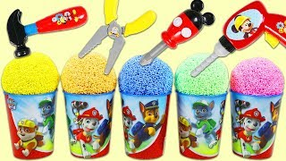 PAW PATROL Play Foam Surprise Toys Opening with Disney Mickey Mouse Tools & Kinder Eggs!