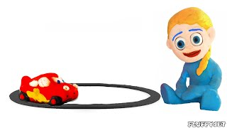 Cars Lightning McQueen & Kids Playtime! Play Doh Cartoons  Stop Motion Videos For Kids