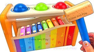 Learn Colors Wooden Pounding Toys Xylophone Kinetic Sand Squishy Balls Surprise Toys Fun For Kids
