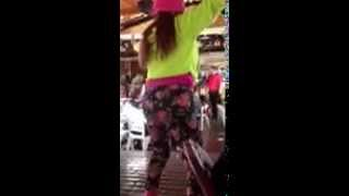 crazy drunk lady dancing at a bar