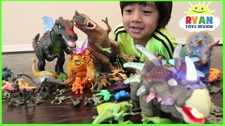DINOSAURS TOYS COLLECTION FOR KIDS! JURASSIC WORLD DINOSAURS T REX battle Family Fun Playtime