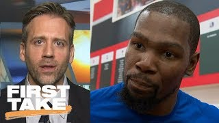 Max doesn't buy Warriors vs. Thunder is 'just another game' for Kevin Durant | First Take | ESPN