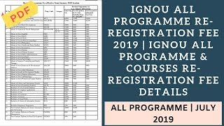 IGNOU All Programme Re-Registration Fee 2019 | All Programme & Courses Re-Registration Fee Details