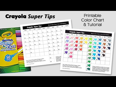 Free Color Chart for Crayola Super Tips Markers ~ Adult Coloring Tutorial