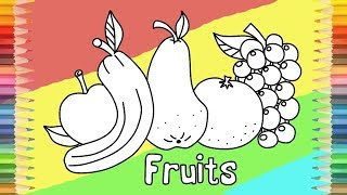 How to Draw Fruits Coloring Pages Learn Colors Finger Family Song Video for Kids and Toddlers