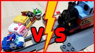 Learn Colors Roboca Poli Toy Car Tayo Bus Train Finger Family Song Nursery Rhymes Color Pong Song