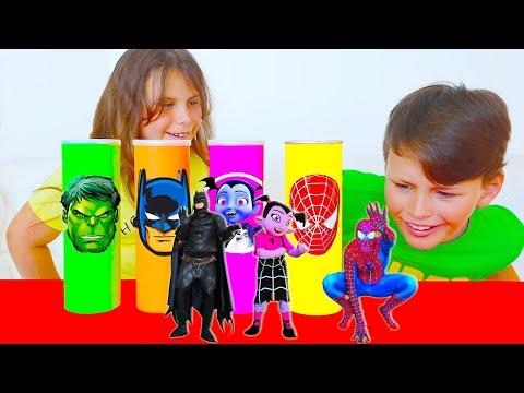 프링글스를 먹으면 무엇으로 변할까요 아드리아나 마법 프링글스 making Pringles Super Hero Collection of new Stories for Kids
