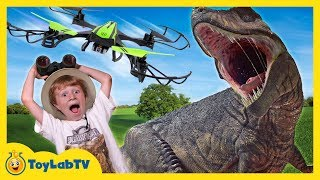 Giant Dinosaurs & Drone Attack! T-Rex Chase with Nerf & Jurassic World Dinosaur Toys for Kids