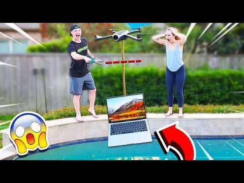 DESTROYING MY GIRLFRIENDS LAPTOP WITH A DRONE GONE WRONG