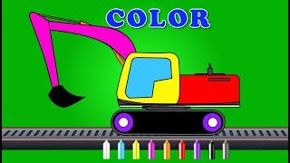 Excavator | Learn Colors | Coloring Video For Kids