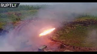Flame power: Russian tank-mounted rocket launcher TOS1-A in action