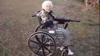 Old woman shoots MP40 Machine gun