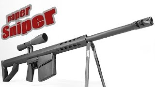 How To Make A Paper Barrett 50 cal Sniper  Rifle That Shoots - (with instructions)