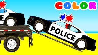 Color Police Cars on Bus and Spiderman Cartoon for kids w Superheroes for babies!