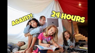 24 Hours OVERNIGHT in BLANKET FORT! Who snuck out!?
