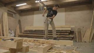 French carpenter Mourad Monese hewing axe skills