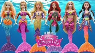 Play Doh Dresses Disney Princesses Elsa Anna Rapunzel Belle Aurora Ariel MERMAIDS