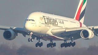 AIRBUS A380 LANDING + BOEING 777 Landing at Düsseldorf Airport (4K)