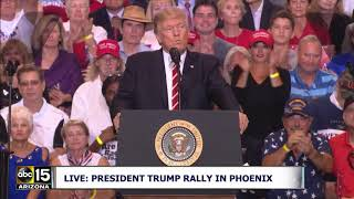 """WE ARE BUILDING A WALL WHICH IS ABSOLUTELY NECESSARY!"" President Trump speaks at Phoenix Rally"