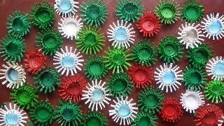 প্লাস্টিক বোতলের মুখ দিয়ে সুন্দর ফুল বানানো শিখুন  How to make a Flowers with plastic bottle caps