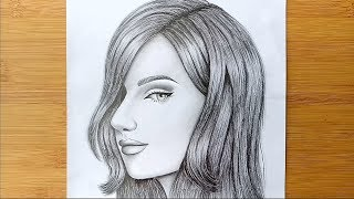 How to Draw a Girl face for BEGINNERS - step by step    Pencil sketch