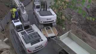 RC Excavators LIEBHERR arriving at the RC Demolition Site - PART 1