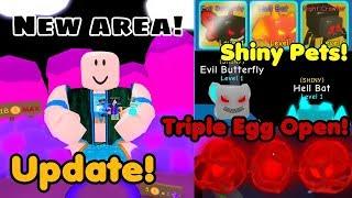 Update! Shiny Pet! New Areas! Triple Eggs Open! - Bubble Gum Simulator