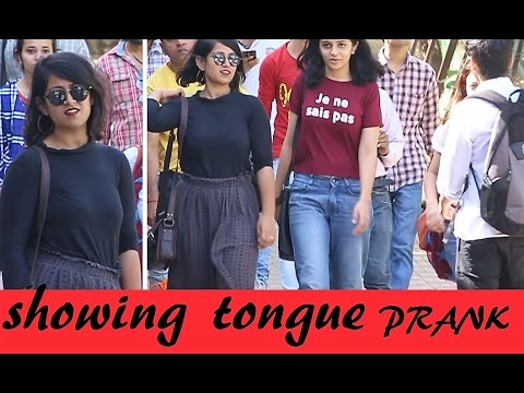 Showing TONGUE 👅 To HOT GIRLS Prank making face 2 Pranks In India