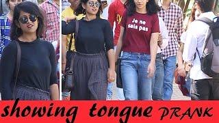 Showing TONGUE 👅 To HOT GIRLS Prank (making face) -2 (Pranks In India)