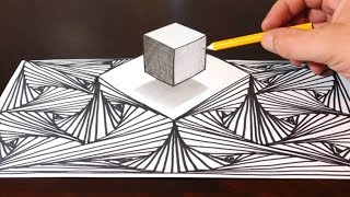 How to Draw a 3D Cube on Line Pattern Optical Illusion Background