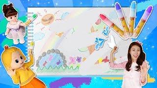 콩순이 냉장고에 물로 지워지는 펜으로 캐리와 꼬마엘리의 그림 그리기 놀이 l 캐리와장난감친구들
