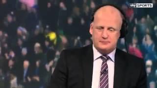 Sky sports Iaine dowie reacts to jaime vardys goal against Liverpool