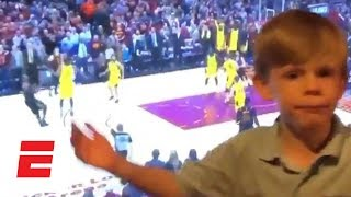 Kid casually calls game as LeBron James shoots buzzer-beating 3 vs. Pacers | ESPN