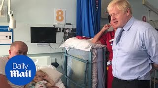 Prime Minister Boris Johnson visits patients at Cornwall hospital